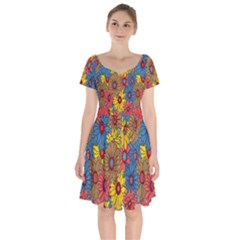 Background With Multi Color Floral Pattern Short Sleeve Bardot Dress by Nexatart