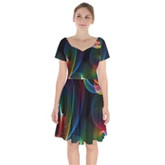 Abstract Rainbow Twirls Short Sleeve Bardot Dress by Nexatart