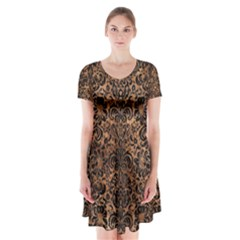 Damask2 Black Marble & Brown Stone (r) Short Sleeve V Neck Flare Dress by trendistuff