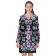 Fantasy Flower Forest  In Peacock Jungle Wood Long Sleeve Chiffon Shift Dress
