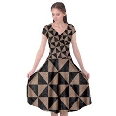 Triangle1 Black Marble & Brown Colored Pencil Cap Sleeve Wrap Front Dress by trendistuff