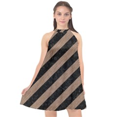 Stripes3 Black Marble & Brown Colored Pencil Halter Neckline Chiffon Dress  by trendistuff