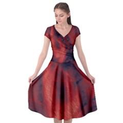 Blood Waterfall Cap Sleeve Wrap Front Dress