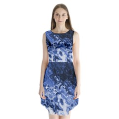 Blue Waves Abstract Art Sleeveless Chiffon Dress   by LokisStuffnMore