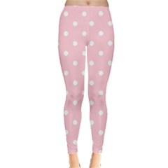 Pink Polka Dots Leggings  by LokisStuffnMore