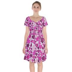 Sparkling Hearts Pink Short Sleeve Bardot Dress