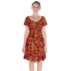 Sparkling Hearts,deep Red Short Sleeve Bardot Dress by MoreColorsinLife