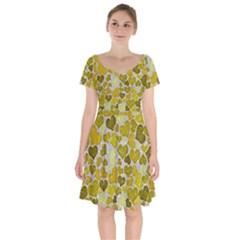 Sparkling Hearts,yellow Short Sleeve Bardot Dress by MoreColorsinLife