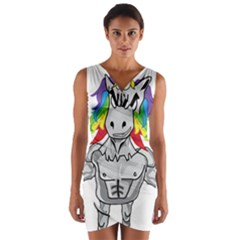 Angry Unicorn Wrap Front Bodycon Dress by KAllan