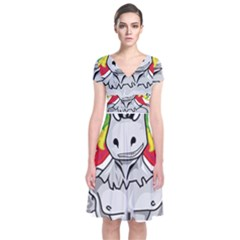 Angry Unicorn Short Sleeve Front Wrap Dress by KAllan