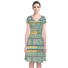 Bezold Effect Traditional Medium Dimensional Symmetrical Different Similar Shapes Triangle Green Yel Short Sleeve Front Wrap Dress