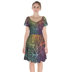 Beautiful Maple Leaf Neon Lights Leaves Marijuana Short Sleeve Bardot Dress by Mariart