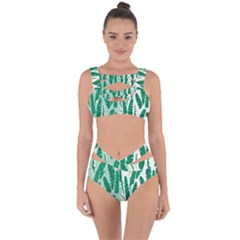 Banana Leaf Green Polka Dots Bandaged Up Bikini Set  by Mariart