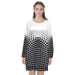 Black White Polkadots Line Polka Dots Long Sleeve Chiffon Shift Dress  by Mariart