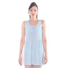 Blue Red Circle Polka Scoop Neck Skater Dress by Mariart