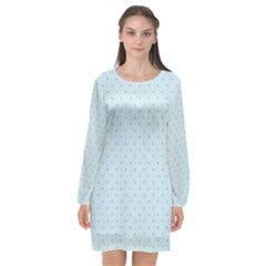 Blue Red Circle Polka Long Sleeve Chiffon Shift Dress  by Mariart