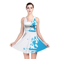Blue Stain Spot Paint Reversible Skater Dress by Mariart