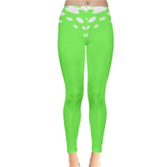 Bubble Polka Circle Green Leggings  by Mariart