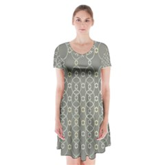 Circles Grey Polka Short Sleeve V Neck Flare Dress by Mariart