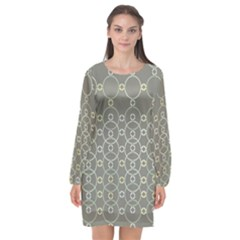 Circles Grey Polka Long Sleeve Chiffon Shift Dress