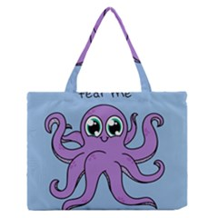 Colorful Cartoon Octopuses Pattern Fear Animals Sea Purple Medium Zipper Tote Bag
