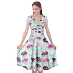 Donut Jelly Bread Sweet Cap Sleeve Wrap Front Dress by Mariart
