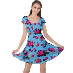 Crown Red Flower Floral Calm Rose Sunflower Cap Sleeve Dresses by Mariart