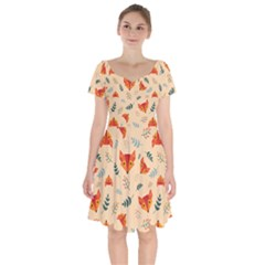 Foxes Animals Face Orange Short Sleeve Bardot Dress by Mariart