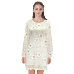 Flower Floral Leaf Long Sleeve Chiffon Shift Dress