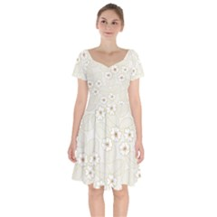 Flower Floral Leaf Short Sleeve Bardot Dress by Mariart