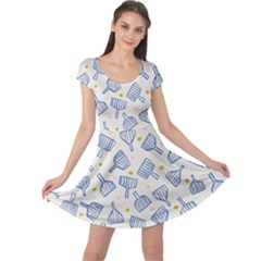 Glass Polka Circle Blue Cap Sleeve Dresses by Mariart