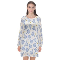Glass Polka Circle Blue Long Sleeve Chiffon Shift Dress  by Mariart