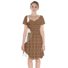 Illustrain Animals Reef Fish Sea Beach Water Seaword Brown Polka Short Sleeve Bardot Dress