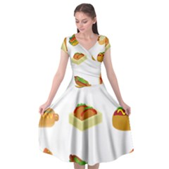 Hot Dog Buns Sauce Bread Cap Sleeve Wrap Front Dress by Mariart