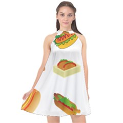 Hot Dog Buns Sauce Bread Halter Neckline Chiffon Dress