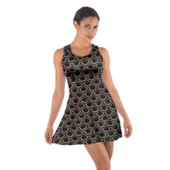 Scales2 Black Marble & Brown Colored Pencil Cotton Racerback Dress by trendistuff