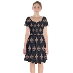 Royal1 Black Marble & Brown Colored Pencil (r) Short Sleeve Bardot Dress by trendistuff