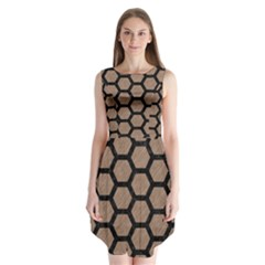 Hexagon2 Black Marble & Brown Colored Pencil (r) Sleeveless Chiffon Dress   by trendistuff