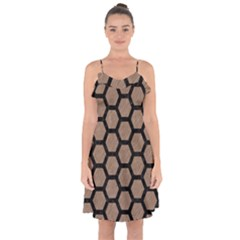 Hexagon2 Black Marble & Brown Colored Pencil (r) Ruffle Detail Chiffon Dress by trendistuff