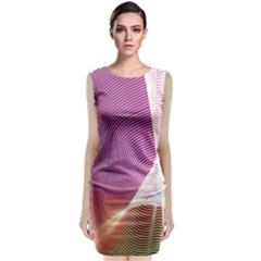 Light Means Net Pink Rainbow Waves Wave Chevron Classic Sleeveless Midi Dress by Mariart
