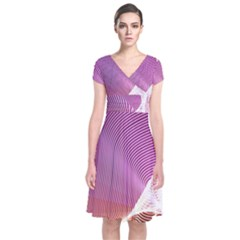 Light Means Net Pink Rainbow Waves Wave Chevron Short Sleeve Front Wrap Dress