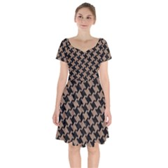 Houndstooth2 Black Marble & Brown Colored Pencil Short Sleeve Bardot Dress by trendistuff