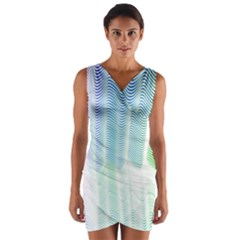 Light Means Net Pink Rainbow Waves Wave Chevron Green Wrap Front Bodycon Dress by Mariart