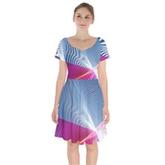 Light Means Net Pink Rainbow Waves Wave Chevron Red Short Sleeve Bardot Dress by Mariart