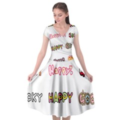 Lucky Happt Good Sign Star Cap Sleeve Wrap Front Dress by Mariart