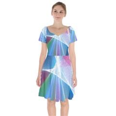 Light Means Net Pink Rainbow Waves Wave Chevron Green Blue Sky Short Sleeve Bardot Dress