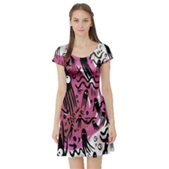 Octopus Colorful Cartoon Octopuses Pattern Black Pink Short Sleeve Skater Dress