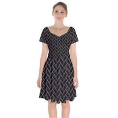 Brick2 Black Marble & Brown Colored Pencil Short Sleeve Bardot Dress by trendistuff