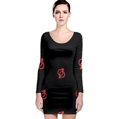 Seamless Pattern With Symbol Sex Men Women Black Background Glowing Red Black Sign Long Sleeve Bodycon Dress by Mariart