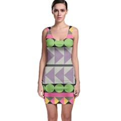 Shapes Patchwork Circle Triangle Sleeveless Bodycon Dress by Mariart